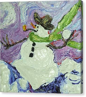 Snowball Fight Snowman Canvas Print by Paris Wyatt Llanso