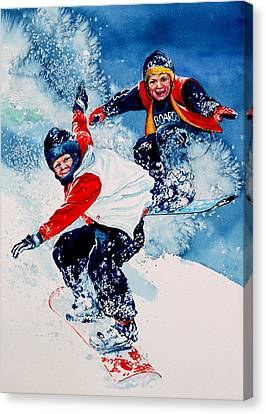 Snowboard Psyched Canvas Print by Hanne Lore Koehler