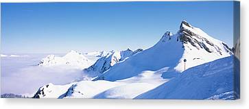 Snowcapped Mountain Range, Damuls Canvas Print by Panoramic Images