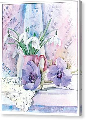 Snowdrops And Anemones Canvas Print by Julia Rowntree