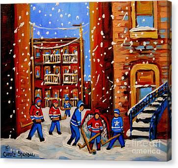 Snowfall Hockey Game Winter City Scene Canvas Print by Carole Spandau