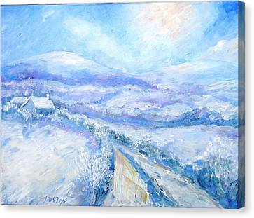 Snowfall On The Laneway  Canvas Print by Trudi Doyle