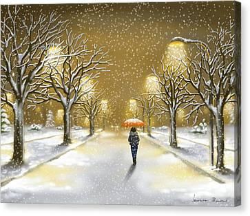 Snowfall Canvas Print by Veronica Minozzi