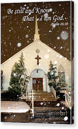 Snowing At The Chapel Canvas Print by Kathy  White