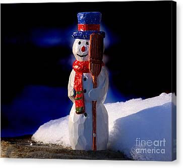 Snowman By George Wood Canvas Print by Karen Adams