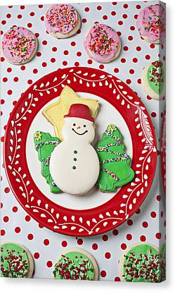 Snowman Cookie Plate Canvas Print by Garry Gay