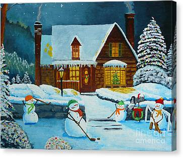 Snowmans Hockey Canvas Print by Anthony Dunphy