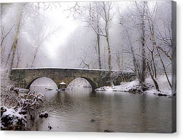 Snowy Bells Mill Road Bridge Canvas Print by Bill Cannon