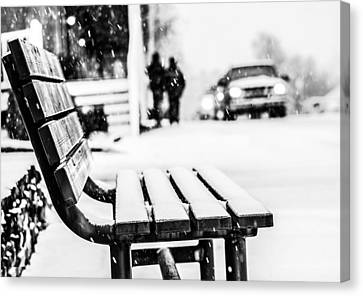 Snowy Bench Canvas Print by Shelby  Young