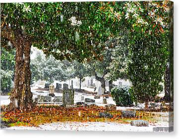 Snowy Day At The Cemetery - Greensboro North Carolina Canvas Print by Dan Carmichael