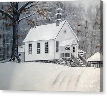 Snowy Gates Chapel  -little White Church - Ellijay Canvas Print by Jan Dappen