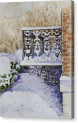 Snowy Ironwork Canvas Print by Patsy Sharpe