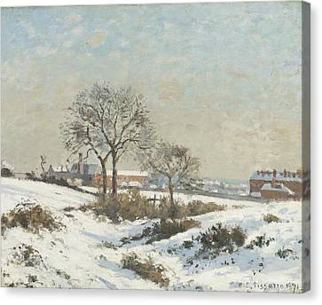 Snowy Landscape At South Norwood Canvas Print by Camile Pissarro
