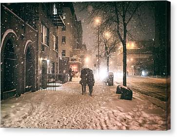 Snowy Night - Winter In New York City Canvas Print by Vivienne Gucwa