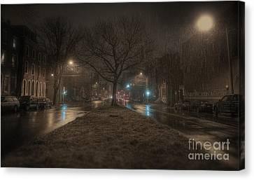 Snowy Nights Canvas Print by Kenny  Noddin