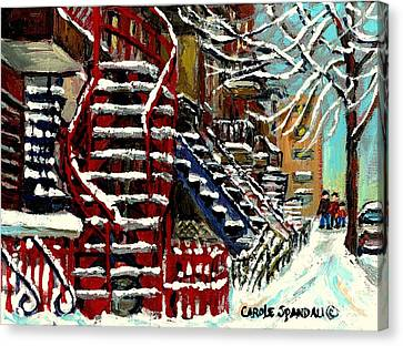 Snowy Steps The Red Staircase In Winter In Verdun Montreal Paintings City Scene Art Carole Spandau Canvas Print by Carole Spandau