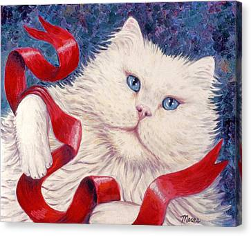Snowy The Cat Canvas Print by Linda Mears