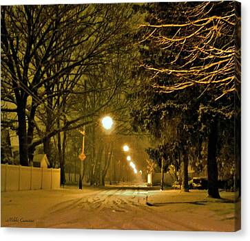 Snowy Winter Night Canvas Print by Mikki Cucuzzo