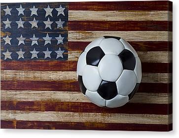 Soccer Ball And Stars And Stripes Canvas Print by Garry Gay