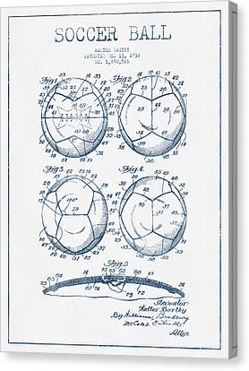 Soccer Ball Patent Drawing From 1932 - Blue Ink Canvas Print by Aged Pixel