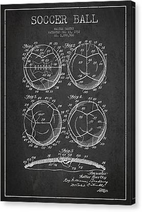 Soccer Ball Patent Drawing From 1932 - Dark Canvas Print by Aged Pixel