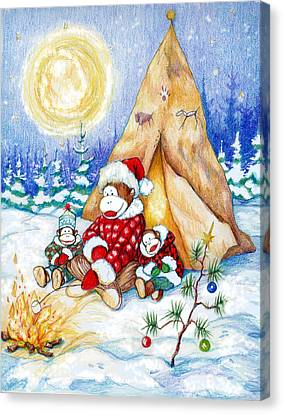 Sock Monkey Family Christmas Canvas Print by Peggy Wilson