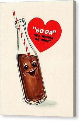 Soda Pop Valentine Canvas Print by Kelly Gilleran