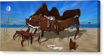 Soft Grand Piano With Camera - Panoramic Canvas Print by Mike McGlothlen
