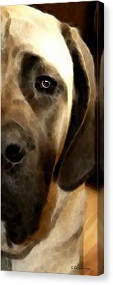 Soft Love - Mastiff Dog Art By Sharon Cummings Canvas Print by Sharon Cummings