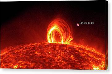 Solar Plasma Loops And Earth To Scale Canvas Print by Solar Dynamics Laboratory/nasa