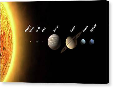 Solar System's Planets Canvas Print by Science Photo Library