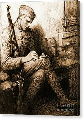 Soldier's Valentine 1918 Canvas Print by Padre Art
