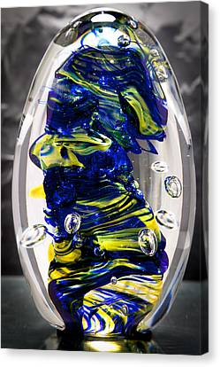 Solid Glass Sculpture -13e4- Cobalt And Yellow  Canvas Print by David Patterson