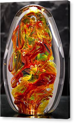 Solid Glass Sculpture - 13e8 - Extreme Flames Canvas Print by David Patterson