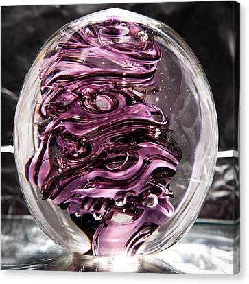 Solid Glass Sculpture Rp5 - Purple And White Canvas Print by David Patterson