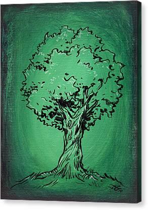 Solitary Tree In Green Canvas Print by John Ashton Golden