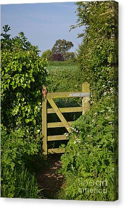 Somerset Countryside Gate Uk Canvas Print by Rene Triay Photography