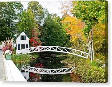 Somesville Bridge In Autumn Canvas Print by Lena Hatch