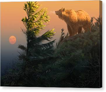 Something On The Air - Grizzly Canvas Print by Aaron Blaise