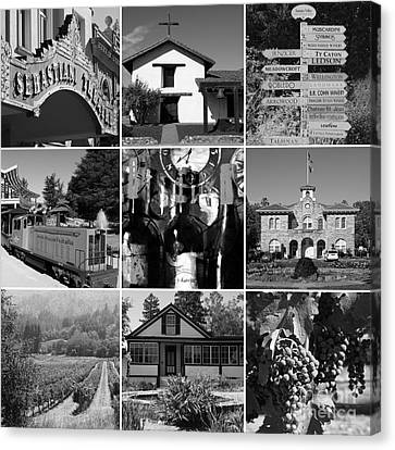 Sonoma County Wine Country 20140906 Black And White Canvas Print by Wingsdomain Art and Photography