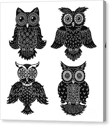 Sophisticated Owls All 4 Canvas Print by Kyle Wood