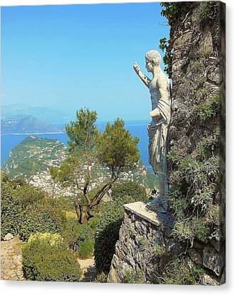 Sorrento Peninsula From Mt Solaro Capri  Canvas Print by Marilyn Dunlap