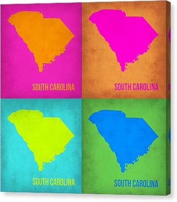 South Carolina Pop Art Map 1 Canvas Print by Naxart Studio