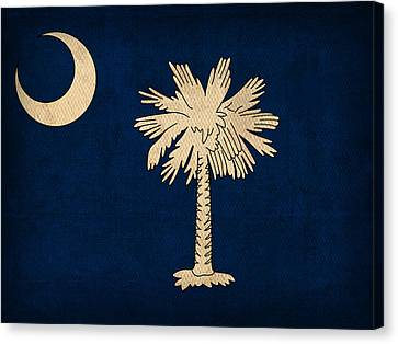 South Carolina State Flag Art On Worn Canvas Canvas Print by Design Turnpike