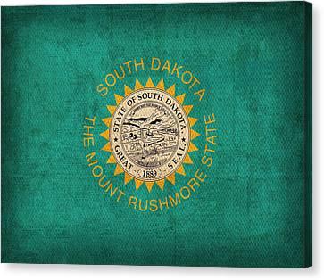 South Dakota State Flag Art On Worn Canvas Canvas Print by Design Turnpike