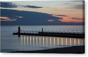 South Haven Michigan Lighthouse Canvas Print by Adam Romanowicz