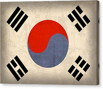 South Korea Flag Vintage Distressed Finish Canvas Print by Design Turnpike
