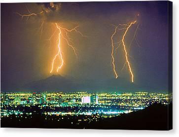 South Mountain Lightning Strike Phoenix Az Canvas Print by James BO  Insogna