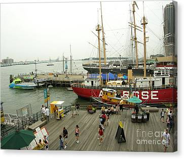 South Street Seaport  N Y C Canvas Print by Anthony Morretta