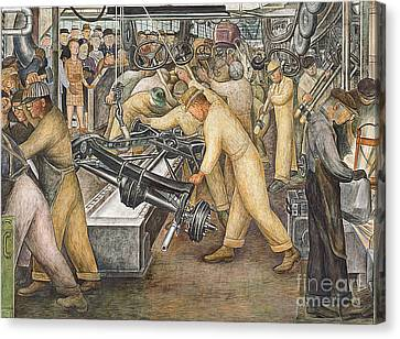 South Wall Of A Mural Depicting Detroit Industry Canvas Print by Diego Rivera